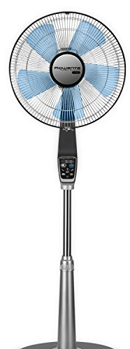 Rowenta VU5670 Turbo Silence Oscillating 16-Inch Stand Fan Powerful and Quiet with Remote Control,5-Speed, Silver