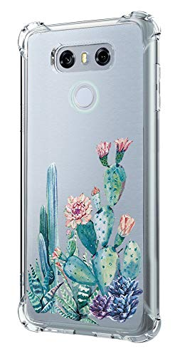 LG G6 Case,LG G6 Case with Flower,LUOLNH Slim Shockproof Clear Floral Pattern Soft Flexible TPU Back Cover for LG G6 (Cactus)