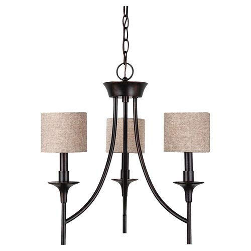 251 First Selby Black with Bronze Accents Three-Light Chandelier