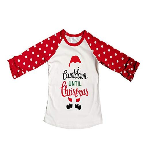 Santa Outfit For Girls (Baby Kids Girl Unicorn Thanksgiving Christmas Car Print Ruffle Polka Dot Cotton T-Shirt Top Outfits (Santa,)