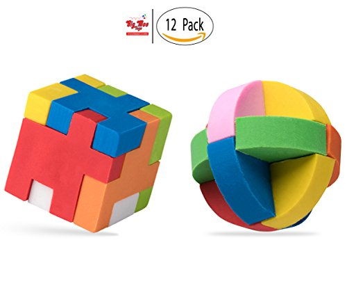 12 Individually Packaged Puzzle Erasers, Party Favors Brain Teaser Pencil Erasers, 6 Balls and 6 Cubes by Big Mo's Toys