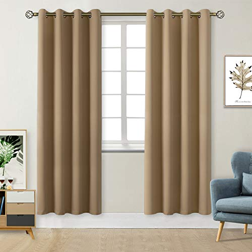 (BGment Blackout Curtains - Grommet Thermal Insulated Room Darkening Bedroom and Living Room Curtains, Set of 2 Curtain Panels (52 x 84 Inch, Light Khaki))