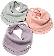Indi by Kishu Baby - Infinity Scarf Bibs - Organic Drool Bib for Girls or Boys with Snaps - Organic Cotton Mus