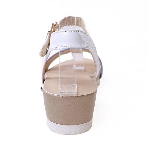 Material Open Sandals AllhqFashion Low Womens Soft Buckle Acidblue Heels Solid Toe gw7ZqI