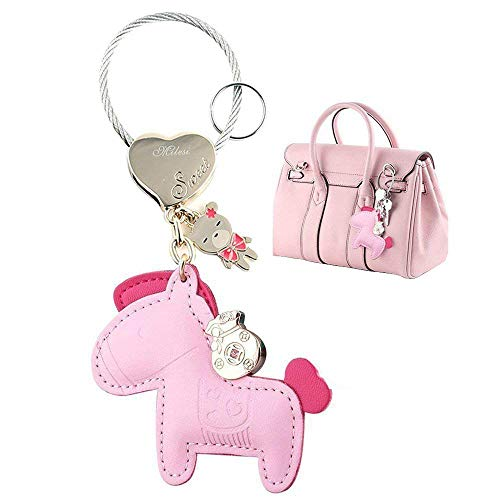 MILESI Cute Horse Keychain (Key Chain) Organizer, Luxury Leather Car Keys Holder, Womens Bag Pendant Charm, Festive Gifts, Pink