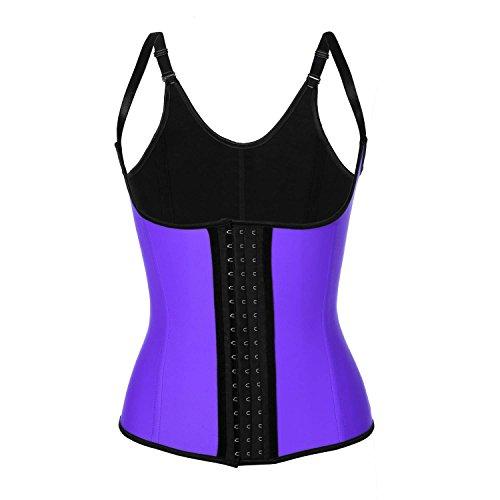 Ekouaer Latex Steel Boned Tummy Slimming Workout Waist Cincher (Vest) 3 hooks
