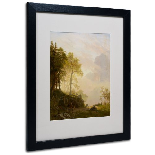 Canvas Frame Bierstadt - The Merced River Canvas Wall Art by Albert Bierstadt with Black Frame, 16 by 20-Inch