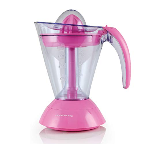 Ovente Electric Citrus Juicer, 2 Auto-Reversing Cones, 25W, 34-oz Capacity, Pressure-Activated, Strainer and Pulp Control, Pink (JE1034P)