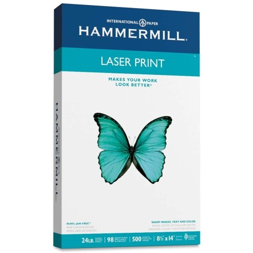 Wholesale CASE of 15 - Hammermill Laser Print Paper-Laser Print Paper,24 lb.,98 GE, 8-1/2''X14'', 500 SH/RM, WE by HAM
