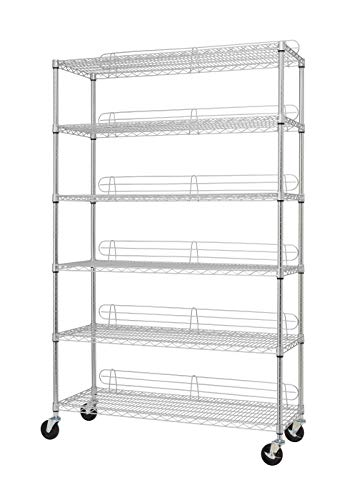 TRINITY EcoStorage 6-Tier NSF Wire Shelving Rack with Wheels, 48 by 18 by 72-Inch, Chrome