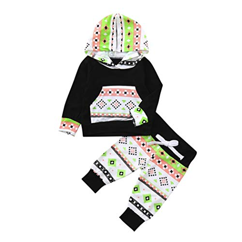 Price comparison product image Basic Outsuits for Toddler Babys-2pcs Set Outfit Flower Print Hoodies with Pocket Top+Striped Long Pants (Black, 80)