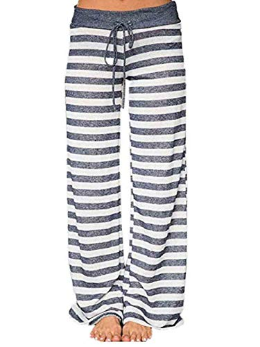 (Famulily Women's Comfy Light Weight Loose Striped Palazzo Pj Lounge Pants(S,Grey))