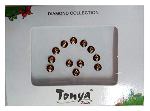 Pack of 12 - Tonya Diamond Collection Maroon Color with White Stone Designer Bindi Indian Art Rhinestone Stick On Reusable Bindi (BC-13)