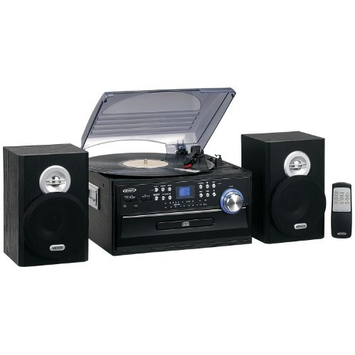 Jensen JTA475B 3-Speed Turntable with CD, AM/FM Stereo Radio, Cassette and - With Home Stereo Player Cassette