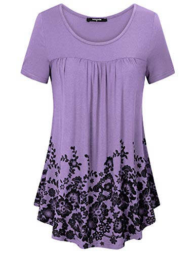 Lotusmile Women's Floral Print Tunic Shirt, Casual Short Sleeve Scoop Neck Pleated Blouse Top,Pink Violet M ()