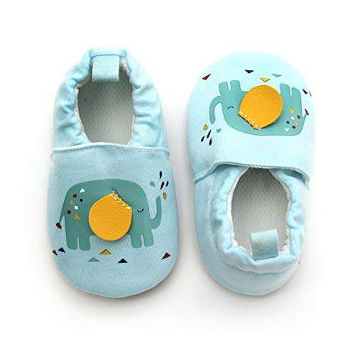 KOSHINE Fox First Walker Cloth Baby Shoes Toddler Mocassins Infant Prewalker for Girl Boy (Blue Elephant, 12cm Sole(6-12 Months))