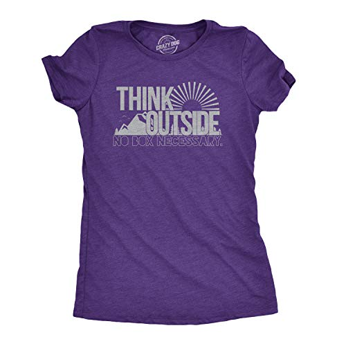(Womens Think Outside No Box Necessary Funny Outdoor Nature T Shirt (Heather Purple) - XXL)
