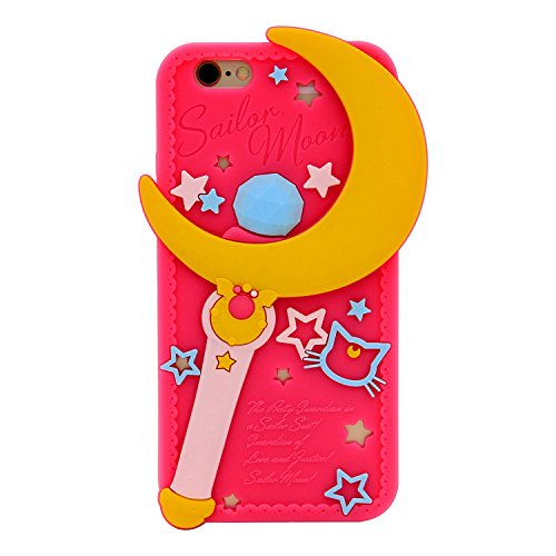 iPhone 6S Case, MC Fashion Cute 3D Japanese Cartoon Sailor Moon Crystal Magic Wand Moon Stick Slim Protective Silicone Rubber Case for Apple iPhone 6/6S (Sailor Moon Crystal Wand) - Sailor Moon Cases Iphone 6