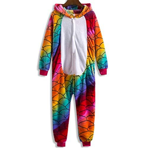 Women Unicorn Unisex Animalsets Winter Warm Flannel Cartoon Cosplay Sleepwear(A-S) -