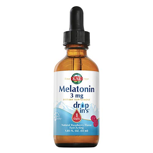 KAL Melatonin DropIns 3mg   Natural Raspberry Flavored Drops   Fast-Acting Formula for Adults   1.85 Fl. Oz.   Approx. 55 Servings