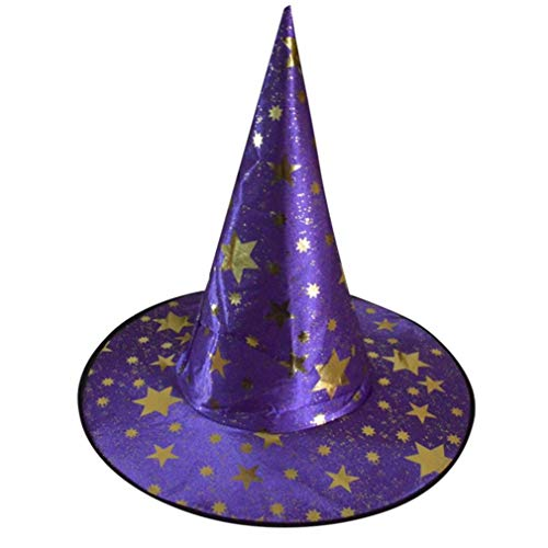 Women's Large Ruched Witch Hat Unisex Halloween Costume Accessory Stars Printed Cap Witch Hat (Purple) -