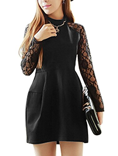 uxcell Women Stand Collar Lace Panel Semi Sheer Long Sleeves Dress Black XS (Lace Panel Stand Collar)
