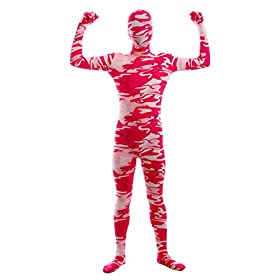 Sheface Kids Spandex Red Camouflage Full Bodysuit Fancy Dress Costume Small P27