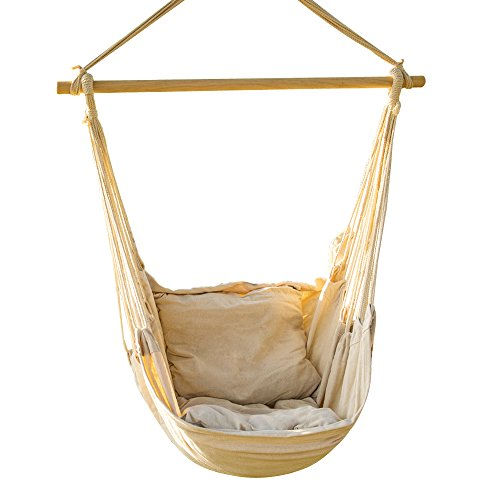 EverKing Hanging Rope Hammock Chair Porch Swing Seat, Large Hammock Net Chair Swing, Cotton Rope Porch Chair for Indoor, Outdoor, Garden, Patio, Porch, Yard - 2 Seat Cushions Included (White) (Wooden With Cushions Chairs)