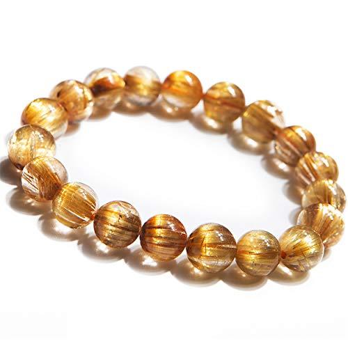 - Natural Genuine Gold Rutilated Quartz Bracelet 10mm Crystal Round Bead Stretch Bracelet AAAAA Certificate