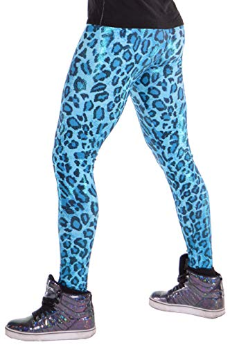 Revolver Fashion Blue Leopard Meggings USA Made Men's Leggings: Fun 80's Costume (X-Large, Leopard Blue) -