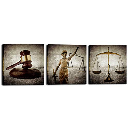 Biuteawal - Legal Canvas Wall Art Law Firm Scales Justice Hammer Picture Prints on Canvas Justitia Lady Poster Painting Contemporary Artwork for Court Home Office Study Room Decoration Ready to Hang]()