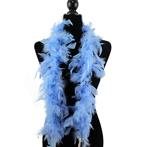 Ws&Wt 1.2m 18g 5pcs Turkey Chandelle Feather Boa Girls Princess Party Dress up Halloween Costume Boa - Baby Blue ()