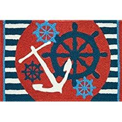 Jellybean Anchors Away Ships Wheel Nautical Sailing Area Accent Rug