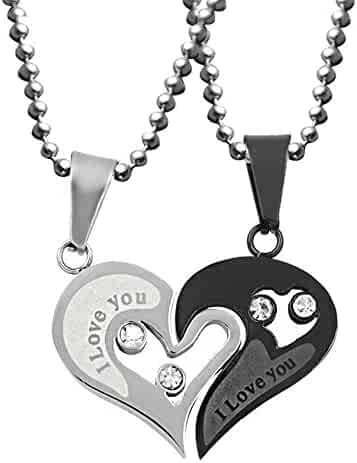 c0b5984a36 Uloveido Stainless Steel Mens Womens Couples Pendant Necklace Love Heart CZ  Puzzle Matching Fashion Jewelry Gifts