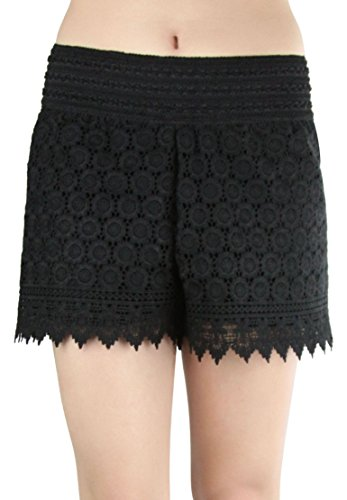 ToBeInStyle Women's Floral Lace Shorts - FLOWERS - BLACK - - Short Style Black
