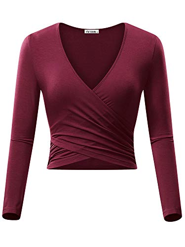 VETIOR Women V Neck Top, Long Sleeve Unique Criss Cross Front Wrap Shirt Bordeaux (Long Sleeve V-neck Top)