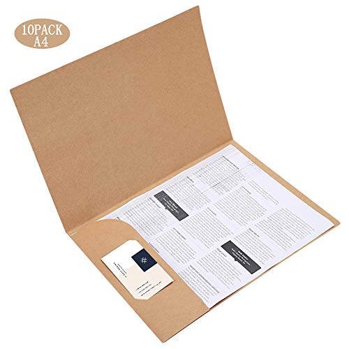 (10-Pack A4 Letter Size File Folders with Insertable Labels Position Expanding File Black Kraft Material for Office Home Top Tab Classification Folders for Filing Storing or Mailing Documents )