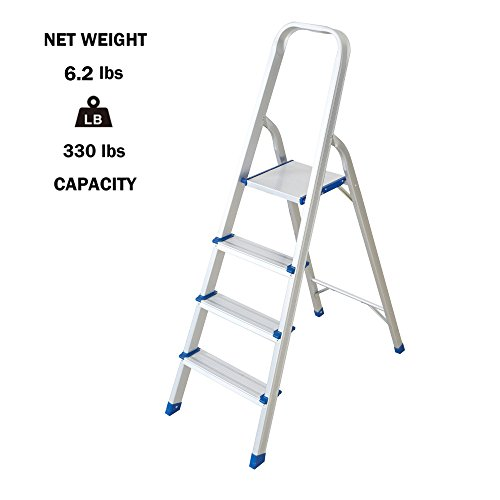 Lucky Tree Lightweight Step Ladder 4 Step Foldabe Tall Stepladders Non-slip Aluminum Step Stools for Household and Office, 330lbs by Lucky Tree