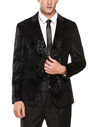 Print Suit (Coofandy Mens Fashion Glitter Floral Print Slim Fit Two Button Blazer Jacket)