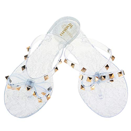 ets Bowtie Flip Flops Jelly Thong Sandal Rubber Flat Summer Beach Rain Shoes (US7=EU39=24.5CM, Clear-Blue) ()