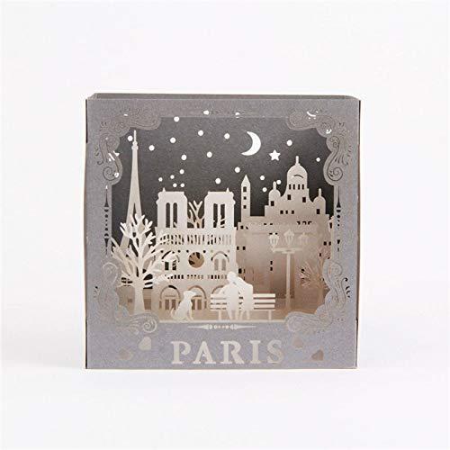 3D Pop Up Card - 3D Laser Cut Handmade Carving Paris Model Paper Invitation Greeting Cards PostCard Business Creative Gift Souvenir Collection