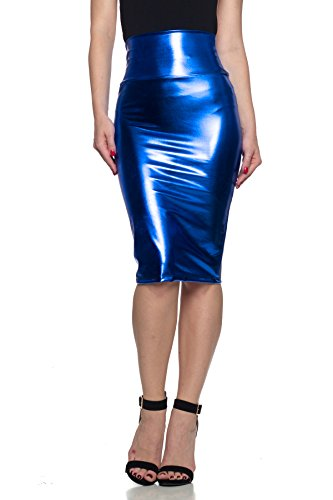 - Women's J2 Love Faux Leather Pencil Skirt, Small, Blue Metallic