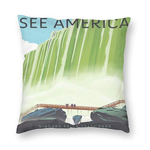 - See America Niagara Falls State Park Pillowslip Unique Throw Pillow Cover Creative Cushions Case Covers with Zipper Home Decorative Print Pillowcase for Sofa Couch