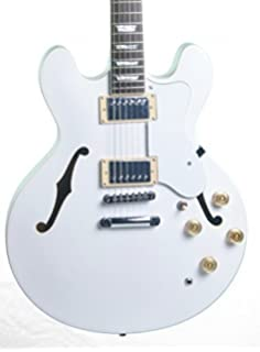 KEYTONE GUITARRA ELÉCTRICA JAZZ MEDIO DE RESONANCIA-ESTILO BLANCO MATE
