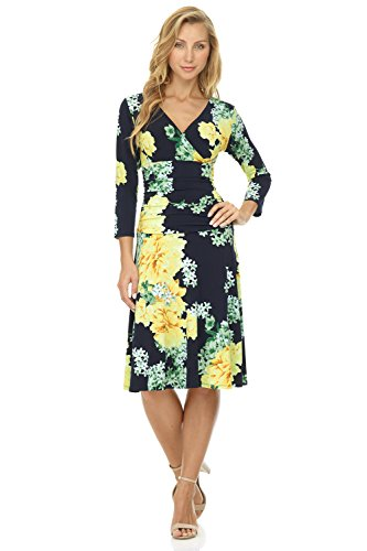 - Rekucci Women's Slimming 3/4 Sleeve Fit-and-Flare Crossover Tummy Control Dress (6,Navy/Yellow Blossom)