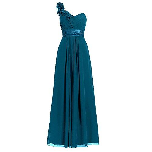 H.S.D Women's Simple Floral One Shoulder Long Bridesmaid Dresses Prom Gowns (Mulan Blue Dress)