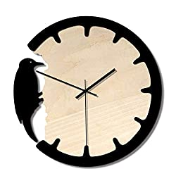Wall Clock Mordern Wall Clock Operated Clock Décor Woodpecker Non Ticking Battery Home Office Clock for Office Kitchen Living Room (Color : Black, Size : 28cm)