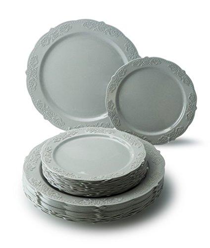 Gray Salad Plate - OCCASIONS 50 PACK Vintage Party Disposable Plastic Plates Set - 25 x 10.25'' Dinner + 25 x 7.5'' Salad/Dessert Plate (Portofino Warm Gray) …