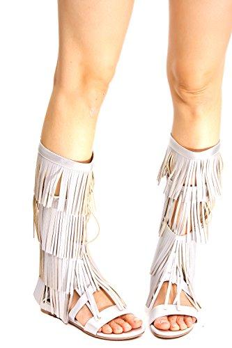 Lolli Couture Per Sempre Link Open Toe Multi Elastico Design Cinturino Cerniera Laterale Pizzo Casual Alti Sandali Gladiatore Silver-tavy-12