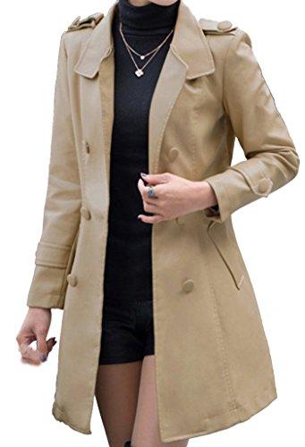 Helan Women's Long Slim Style PU Leather Coat With Belt I...